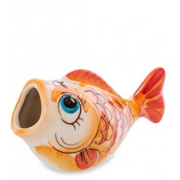 Гл-599 подставка для зубочисток рыба цв. (гжельский фарфор)
