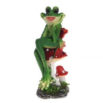 Фигура декоративная садовая лягушка на поганке l18w16h39 с...