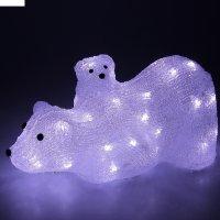 Фигура акрил. медведица с медвежонком 36х17х16 см, 40 led, 220v, белый