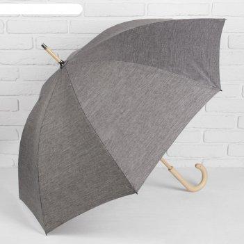 Зонт-трость однотонный, механический, r=52см, цвет серый