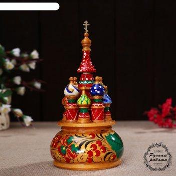 Сувенир-шкатулка музыкальная храм, 17х10 см, хохлома золото