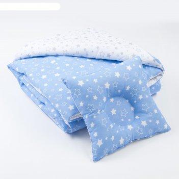 Комплект в кроватку (одеяло детское, подушка фигурная) серый/голубой