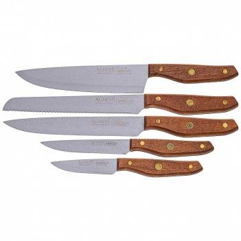Набор ножей agness с антиналипающим покрытием и деревянной ручкой, 5 предм