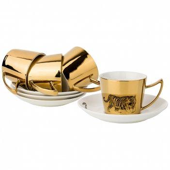 Кофейный набор tiger на 4пер. 8пр. 90мл, золотой
