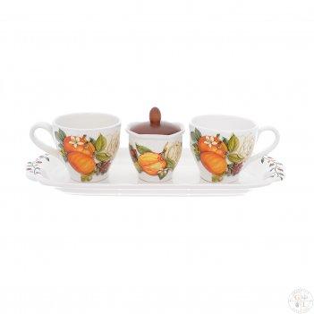 Набор для завтрака nuova cer 4 предмета (2 кружки + сахарница с крышкой на