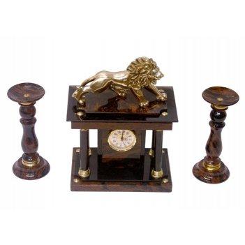 Часы, два подсвечника (обсидиан) 350х160х350 арт. ч-007
