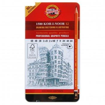 Набор карандашей koh-i-noor 1582 art чёрнографитных разной твердости, 6в-6