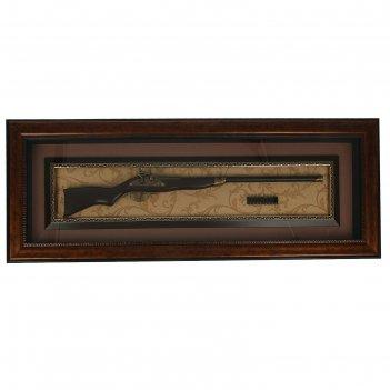 Сувенирное изделие в раме, багет классика, ружье охотничье, пули 46*122см