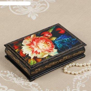Шкатулка «бабочка на цветке», 11х16 см, лаковая миниатюра