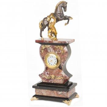 Часы конь с попоной креноид змеевик бронза 140х95х330 мм 3250 гр.
