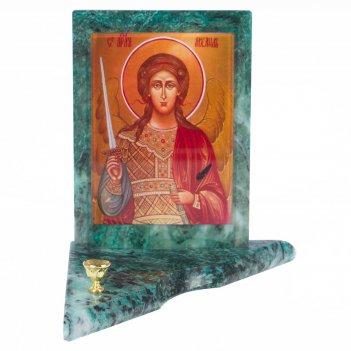 Икона с подсвечником архангел михаил средняя змеевик 120х120х130 мм 600 гр