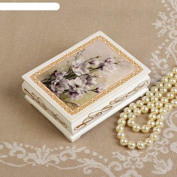 Шкатулка «цветение», белая, 8x10,5 см, лаковая миниатюра