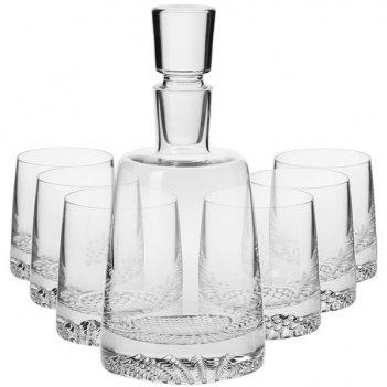 Набор графин 0,95л и 6 стаканов для виски 300мл krosno фьорд п/к