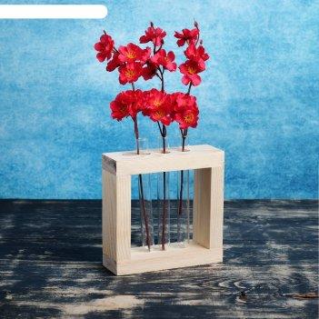 Кашпо флористическое мини- рамка с 3 колбами, натуральное, 20x5,5x20 см