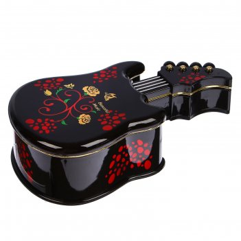 Шкатулка музыкальная механическая электрогитара с розами 22х12,3х6,5 см