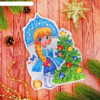 Фреска блестками доброго нового года снегурочка