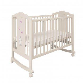Детская кроватка polini kids classic 621 «зайки», цвет бежевый-розовый