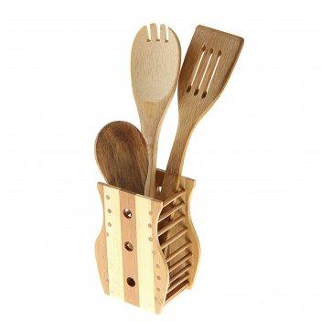 Набор кухонных принадлежностей «дуновение леса», 3 предмета на подставке: