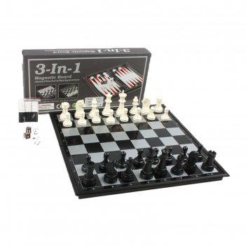 Игра 3 в 1: шахматы, шашки, нарды, доска 32х32 см