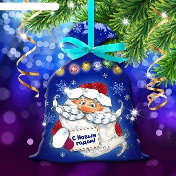 Новый год, вышивка лентами на мешочке дед мороз, основа 25*35 см