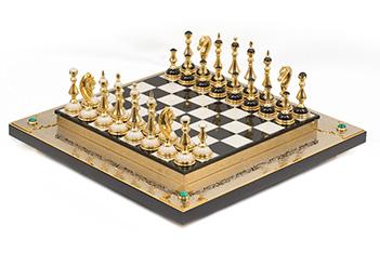 Шахматы классика 470х470 мм мрамор долерит малахит позолота