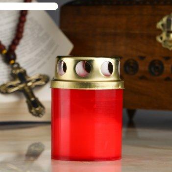 Свеча парафиновая поминальная в рубиновом подсвечнике, н=7,5 см