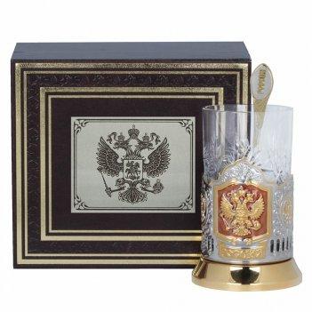 Подстаканник позолоченный герб россии, эмаль, футляр бумвинил, накладка уф