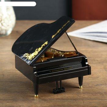 Шкатулка пластик музыкальная механическая рояль с цветамичёрный завод.ключ