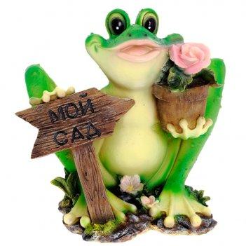 Фигура декоративная садовая лягушка с табличкой мой сад l...