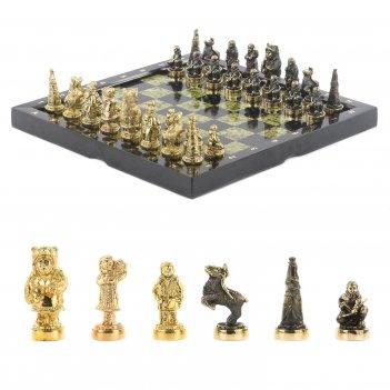 Шахматы северные народы бронза змеевик 365х365 мм