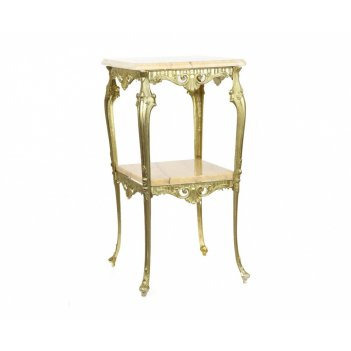 Столик h 75хd45х45 см/ с мраморной столешницей на 4-х ножках .
