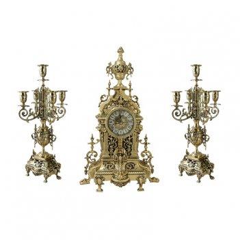 Часы антикварные каминные с канделябрами  ahs