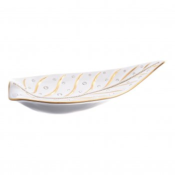 Фруктовница лист белая с золотом с цепочкой из кристаллов 28*50, h-7 см