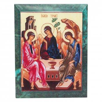 Икона настенная святая троица змеевик 140х180х12 мм 840 гр.