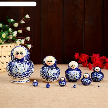Матрёшка «гжель», синий платок, 10 кукольная, 14 см, люкс