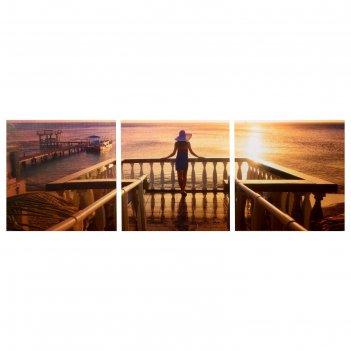 Модульная картина морской закат (3-35х35) 35х105 см