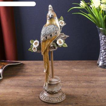 Сувенир полистоун попугай с зеркальными вставками на цветочной ветке 32,5х