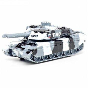 Машина металлическая танк  t-90 13 см, свет+звук,  башня вращается, инерц