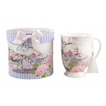 """Кружка для чая """"тихий сад"""" в подар. упак., фарфор 12см, 330мл"""