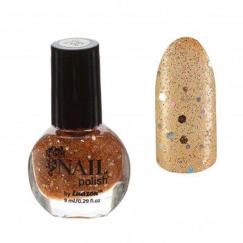 Лак для ногтей с блёстками, 9мл, цвет золотой