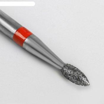 Фреза алмазная для аппаратного маникюра «пламя», мелкая зернистость, 2,1 x