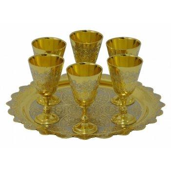 Набор водочный ( тарель, 6 рюмок на высокой ножке ) златоуст