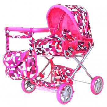 9663-1 кукольная коляска rt цвет розовые ромбы