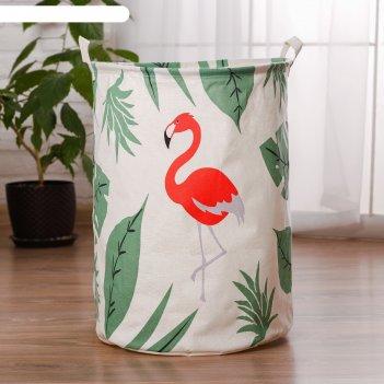 Корзина для хранения игрушек фламинго и листья 40х40х48 см
