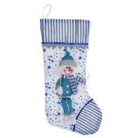 Носок для подарка снеговик с метлой (звездопад)