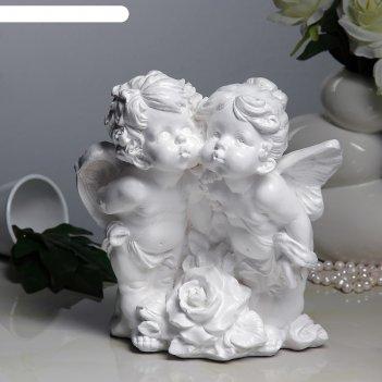 Статуэтка ангел и фея с розой белый