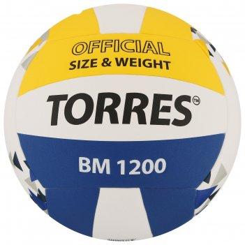 Мяч волейбольный torres bm1200, размер 5, синтетическая кожа (микрофибра),