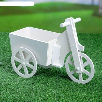 Кашпо велосипед заборчик, белое