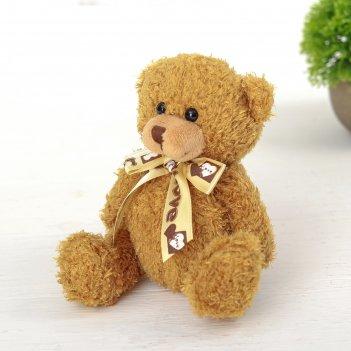 Мягкая игрушка медведь с бантом цвет микс