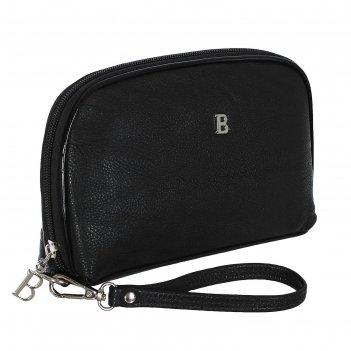 Косметичка п/овал, l-211-09, 23*4*15см, 4отд, н/карман, с ручкой, черный
